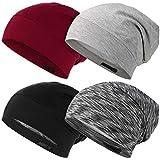 Geyoga 4 Pieces Satin Lined Sleep Cap Adjustable Hair Cover Bonnet Slouchy Frizzy Hair Beanie Cap