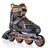 2PM SPORTS Torinx Orange Black Boys Adjustable Inline Skates, Fun Skates for Kids, Beginner Roller Skates for Girls, Men and Ladies - Large (US 4-7)