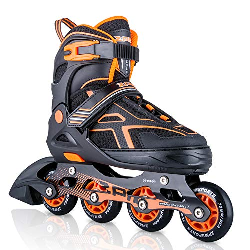 2PM SPORTS Torinx Orange Black Boys Adjustable Inline Skates, Fun Skates for Kids, Beginner Roller Skates for Girls, Men and Ladies - Large (US 4-7)