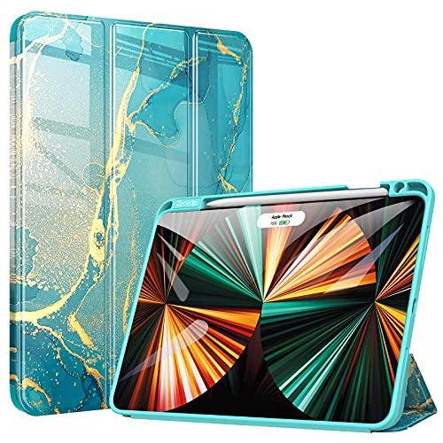ZtotopCases Custodia per Nuovo iPad PRO 11 2021,Custodia protettiva antiurto Cover, con Pencil Holder, Funzione Sleep/Wake Automatica, per iPad PRO 11 3a generazione Cover,Marmo Verde