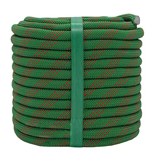 YUZENET Static Rock Climbing Rope 2/5 Inch 100 Feet Outdoor Safety Fire Escape Rope Rappelling Rope Green/Red