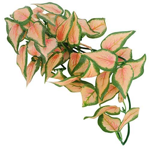 Redxiao Simuliertes Pflanzenrattan, Kletternde Haustierbox Plastik-Rattan hinterlässt ungiftiges Wasserpflanzen-Plastikpflanzen-Rattan für Aquarien