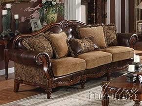ACME AC-0 Sofa, 2Tone Brown PU & Chenille