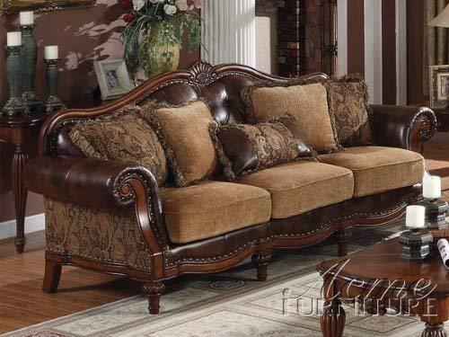 ACME FURNITURE AC-0 Sofa, 2Tone Brown PU & Chenille