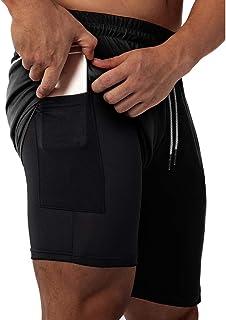"HOMETA Men's 2-in-1 Workout Running Shorts Lightweight Training Gym 7"" Short Yoga Sport Pants with Zipper Pockets"