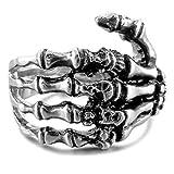 MunkiMix Edelstahl Ring Band Silber Ton Schwarz Totenkopf Schädel Hand Knochen Größe 54 (17.2) Herren