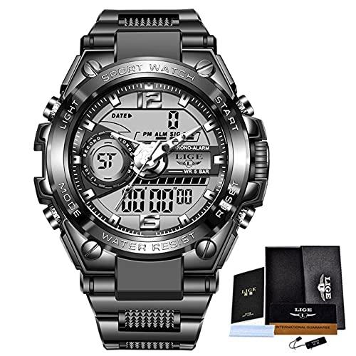 N\C Reloj Digital de Cuarzo Deportivo para Hombre, Relojes de Buceo creativos, Reloj Despertador Impermeable para Hombre, Reloj de Doble Pantalla