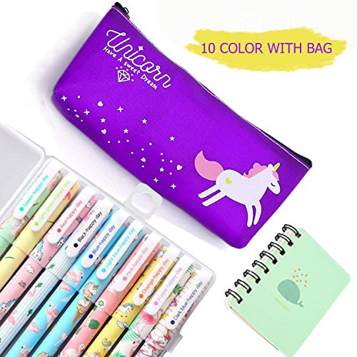 Lhasam Penne di unicorno Astuccio per matite per Ragazze Present School Set regalo di compleanno Cute Unicorno Case 10 Pack Colorful Unicorn Flamingo