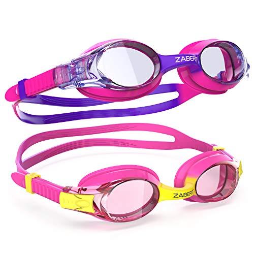 ZABERT K20 2er Pack Schwimmbrille für Kinder, Antibeschlag UV-Schutz, für Kinder Alter 3-12 Jahre (#40.K20 Rosa + Lila)