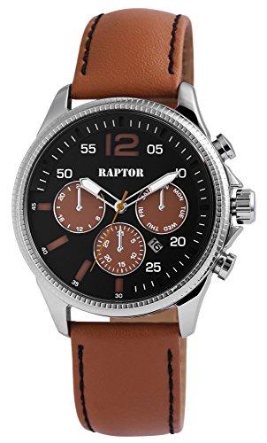 Raptor Herren-Uhr Oberseite Echtlederarmband Chronograph Look Quarzwerk RA20068