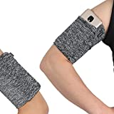 Medium Exercise Workout Jogging Running Armband for Cellphone Keys Earphone - One Hidden Pocket Wrist Arm Band Sleeve Pouch Holder Pocket Fits iPhone 6 6S 7 8 X XR XS 11 12 Max Pro Women Men - Grey
