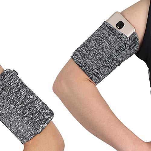 Medium Exercise Workout Jogging Running Armband for Cellphone Keys Earphone - One Hidden Pocket Wrist Arm Band Sleeve Pouch Holder Pocket Fits iPhone 6 6S 7 8 X XR XS 11 12 Max Pro Women Men - Grey