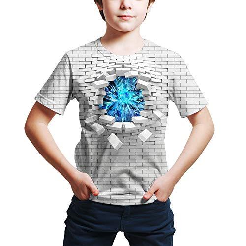 Kinder Kleinkind Jungen Active Street Chic Geometrischer 3D-Druck Kurzarm T-Shirt Weiß Gr. 120 cm, weiß