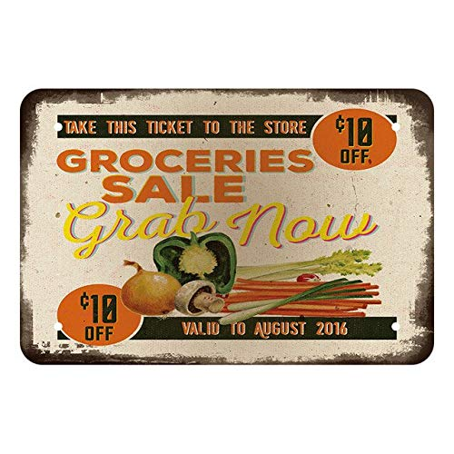 Groceries Sale Vintage Style Metal Sign Iron Painting for Indoor & Outdoor Home Bar Coffee Kitchen Wall Decor 8 X 12 Inch