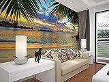 BJYG Sea Tree Shade Sandbeach Lanscape Natürliche Wandbild Tapete 5d Fototapeten für Wohnzimmer Hintergrund 3D Wandbild 150x105 cm