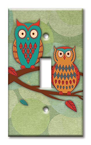 Art Plates brand - Single Gang Toggle Switch/Wall Plate - Whimsical Owls