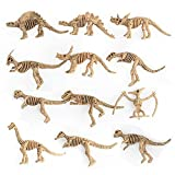 Weite 12-Pack Assorted Dinosaur Fossil Skeleton Figures Kids Toy (Yellow)