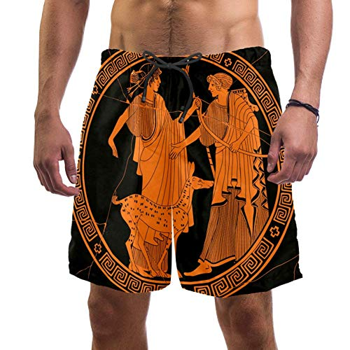 Hombre Pantalones cortos de playa estilo griego antiguo Apolo y Artemis Swim Trunks elástico traje de baño pantalones cortos para hombres multicolor L