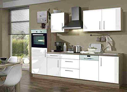 Menke Premium Einbau Küchenzeile Küche 280 cm Eiche Sonoma weiss Hochglanz Ceran