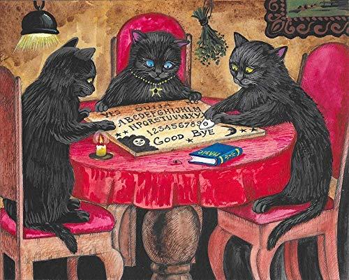 8x10 inch print of original paintiNG DECOR DECORATION FINE WALL ARTng ryta HALLOWEEN BLACK CAT OuijA BOARD SEASONAL INTERIOR HOME HOUSE DESIGN DECOR DECORATION FINE WALL ART