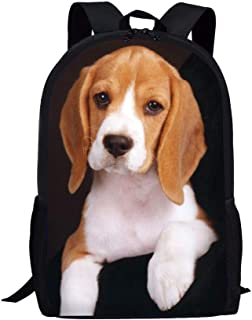Mochila para adolescentes y niñas, diseño de animales, Beagle Balck (Negro) - Z-L4323C6-4