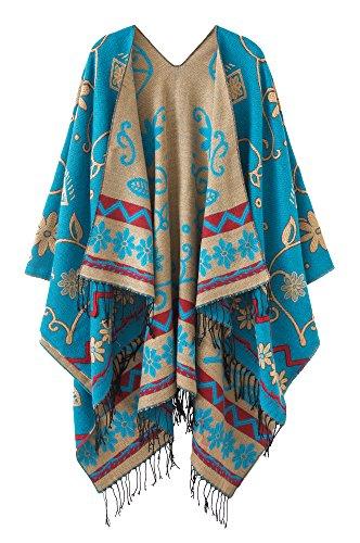 Schicker Damenponcho, Vintage-Umhang mit Schal und Quasten, traditionelles Muster Gr. One size, blau