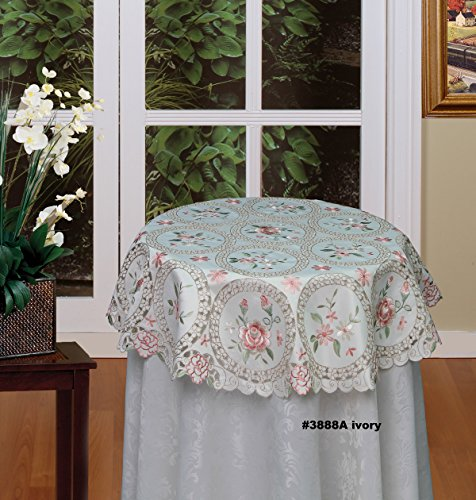 Creative Linens Embroidered Pink Rose Daisy Floral Cutwork Pastel Tablecloth 33
