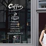 Cafetería palabra inglesa fondo decoración diseño ventana vidrio puerta adhesivo etiqueta de la pared 58 x 60 cm