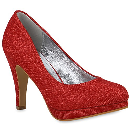 Damen Party Pumps Plateau High Heels Glitzer Metallic Schuhe 154280 Rot Red 37 Flandell