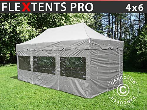 Dancover Pop up gazebo FleXtents Pop up canopy Folding tent PRO Peaked 4x6 m Latte, incl. 8 sidewalls