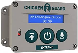 ChickenGuard 'Extreme' Automatic Chicken Coop Pop Door Opener Lifts Up to 8 lbs, Timer/Light Sensor   Outdoor/Indoor Auto Door Opener/Closer, Chicken Coop Accessories