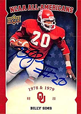 Billy Sims autographed football card (Oklahoma Sooners) 2011 Upper Deck NCAA All Americans #AABS