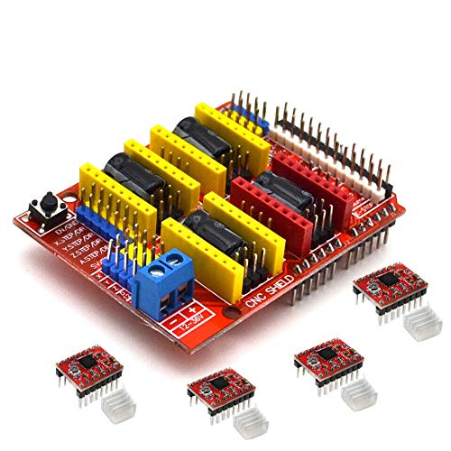 Alician Home CNC Shield Board + A4988 Stepper Motor Driver for Arduino V3 Engraver 3D Printer