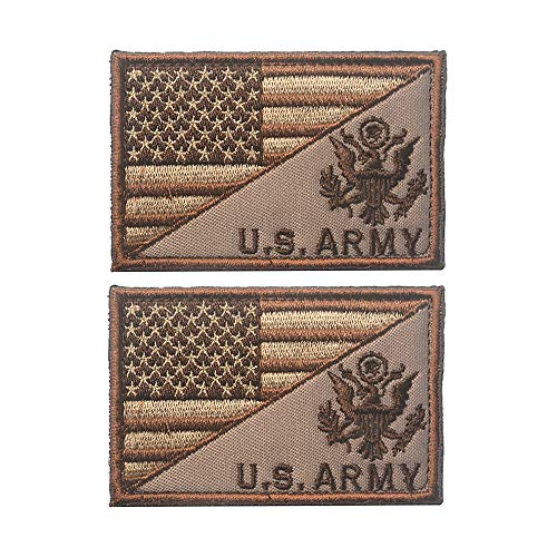 X.Sem USA American Flag w/U.S.Army Patch - 2 Pack Tactical Patches Embroidery Morale Emblem (Brown)