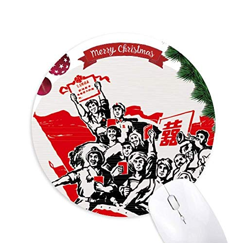 Rote Fahne Mao Zedong zitiert Red China Round Rubber Maus Pad Weihnachtsbaum Mat