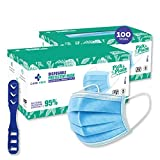Medohealthy 3 Ply Disposable Face Masks (Pack of 100, Blue) with nose pin BIS, (ISI) Certified mask with Melt blown layer