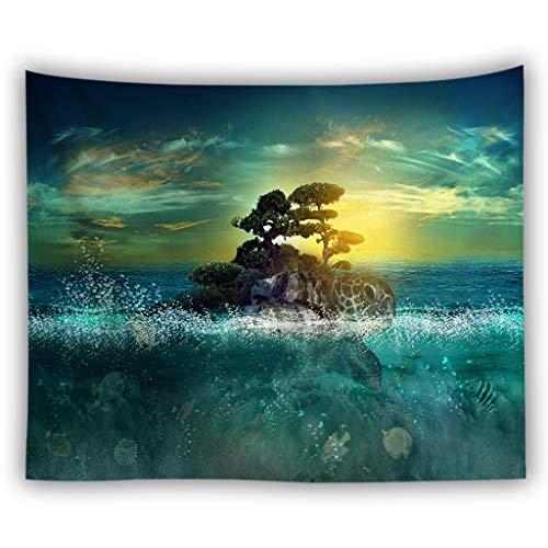 AFQHJ Tapijt, polyester, materiaal strand, nog deken, zeediermotief, wandbehang, tapijt, muurbehang, tapijt, Art Deco (kleur: B, maat: 100cm × 150cm)