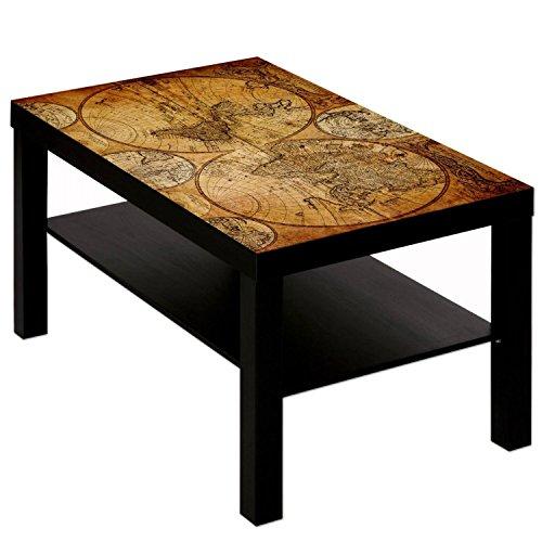 Couchtisch Tisch mit Motiv Bild Weltkarte Globus Antik 3 Farbe schwarz