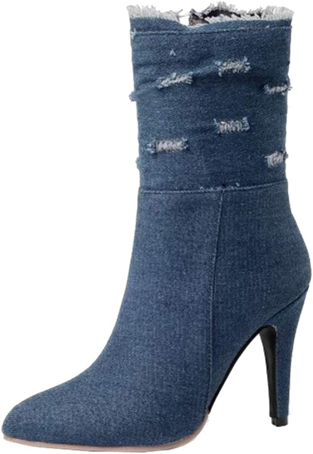 Onewus Women Mid-Calf Stiletto Jean Boots
