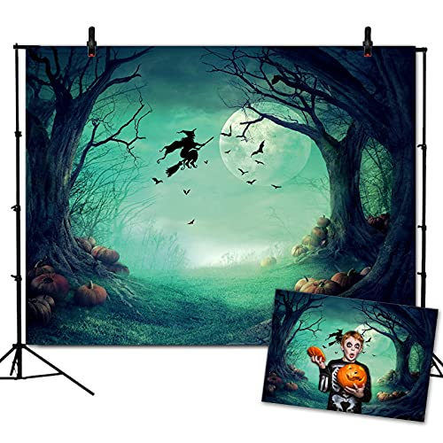 VEOEOV Halloween Backdrop, Scary Full Moon Night Forest Photography Backdrop for Halloween Party, Adults, Kids, Family DIY Photography, Halloween Home Decorations