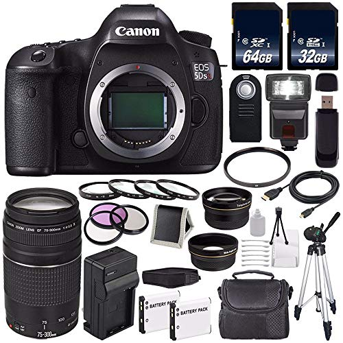 Canon EOS 5DS R DSLR Camera (International Model) 0582C002 + Canon EF 75-300 III+ LP-E6 Replacement Battery + Charger + 64GB SDXC Card + 32GB SDHC Card + 58mm Macro Close Up Kit Bundle