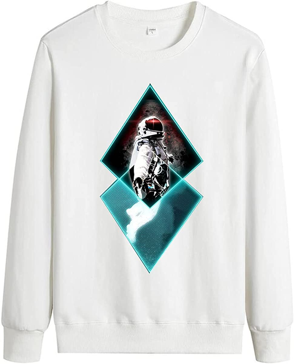 Men's Cotton Comfortable Space Astronaut Print Pullover Long Sleeve Space Pullover