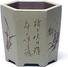 CHENTAOCS Purple sand ceramic orchid flower pot bonsai desktop floor balcony flower pot six square flower pot (Color : C)