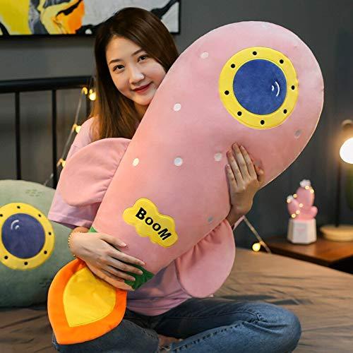 Decanyue 50cm / 90cm Nette Mode kreative Rakete Kissen Plüschtiere Feder Baumwolle weich gepolstert langes Kissen Mädchen Bett Schlafkissen 90cm rosa