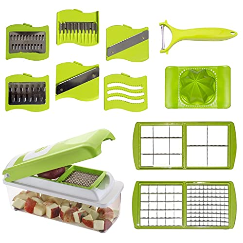 KeyDus ® 12 in 1 Vegetable Cutter Slicer Dicer for Kitchen Stainless Steel Grater & Machine Manual Food