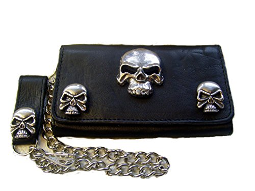 Biker Leder Geldbörse XXL Skull Wallet Leder Farbe Schwarz