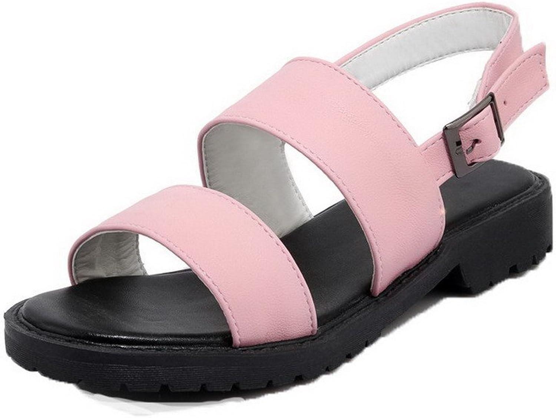 WeenFashion Women's Low-Heels Buckle Pu Open Toe Sandals