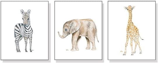 Safari Nursery Decor, Safari Nursery Wall Art Prints Set of 3, Baby Animal Watercolors, Kids Room Girls Boys, Jungle Elephant Giraffe Zebra