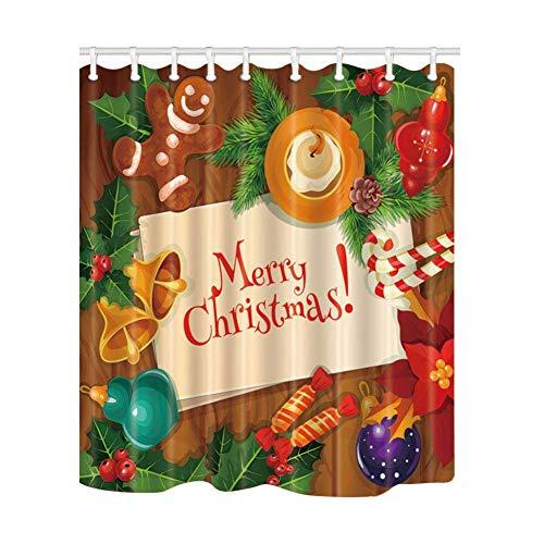 AYogg Cortina de Ducha Fondo de Navidad con Bolas de Navidad en Cortinas de baño Rojas en baño, Cortina de baño...