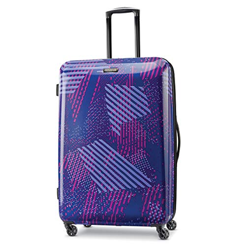 American Tourister Moonlight Hardside Expandable Luggage with Spinner Wheels, Purple Storm, Checked-Large 28-Inch